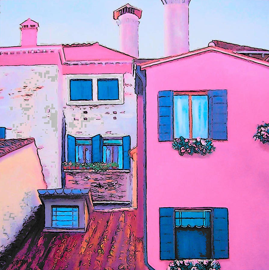 Pink House Painting - The Pink House by Jan Matson