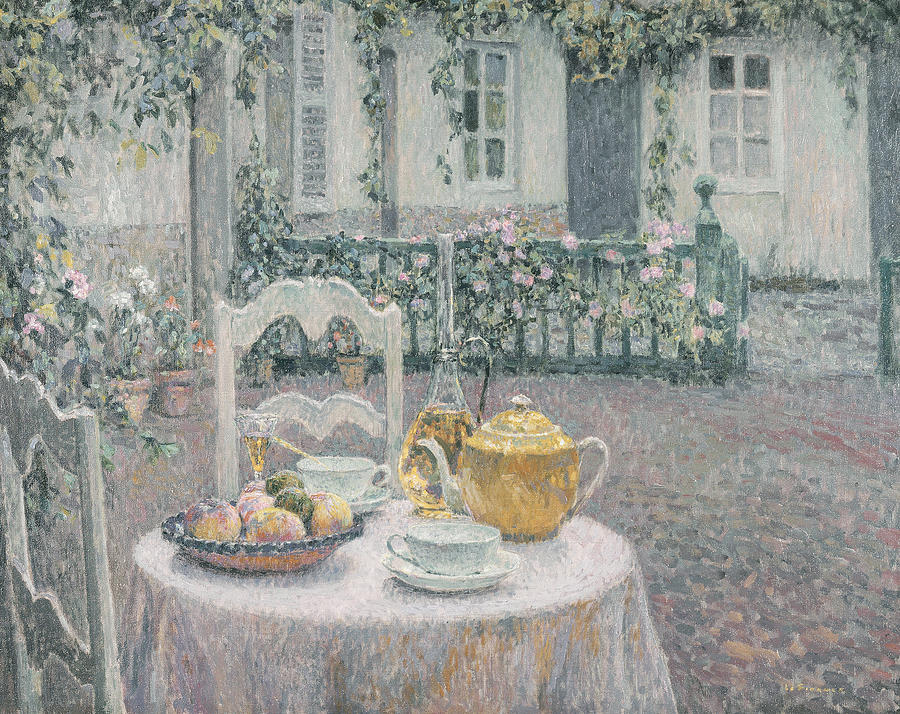 Table Painting - The Pink Tablecloth by Henri Eugene Augustin Le Sidaner