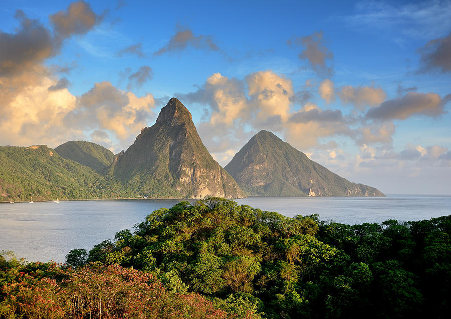 St Lucia Photograph - The Pitons - Saint Lucia by Brendan Reals