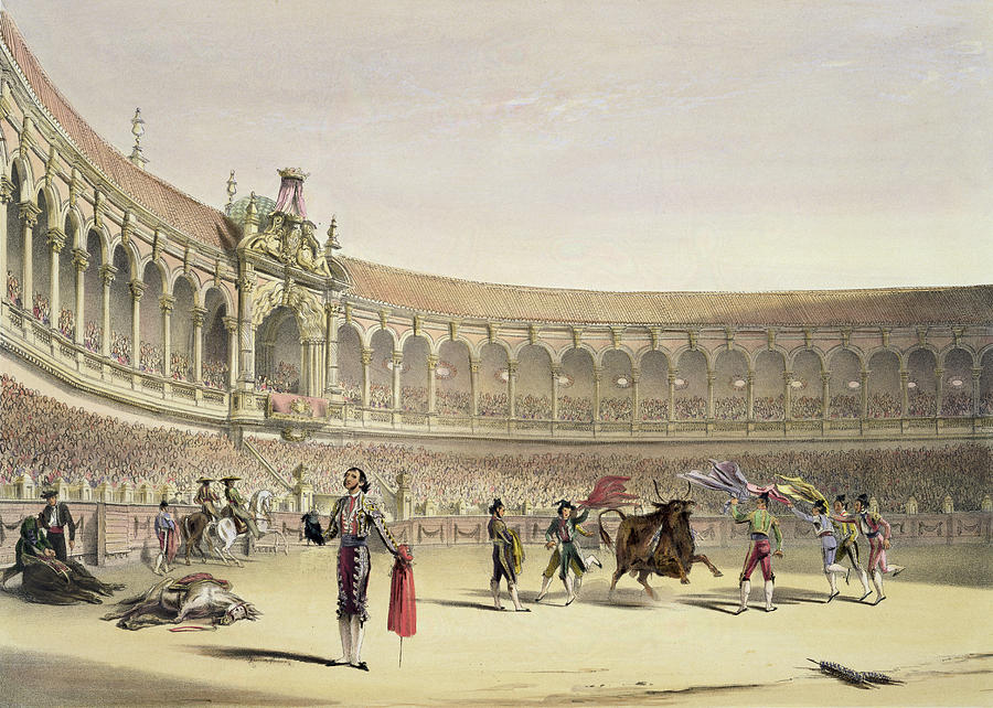 Bullfighting Drawing - The Plaza Of Seville, 1865 by William Henry Lake Price