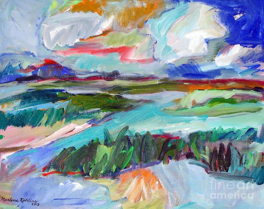 Landscape Painting - The Ponds by Marlene Robbins