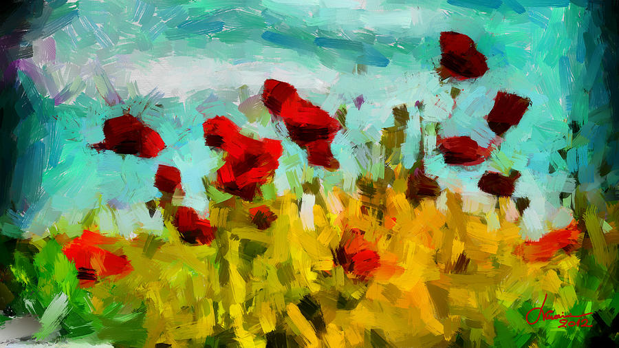 Poppy Field Digital Art - The Poppy Field Tnm by Vincent DiNovici