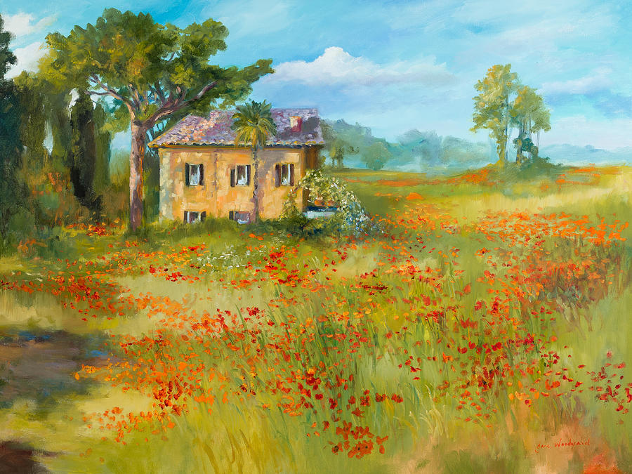 Italy Painting - The Poppy Fields of Tuscany Valley by Jane Woodward