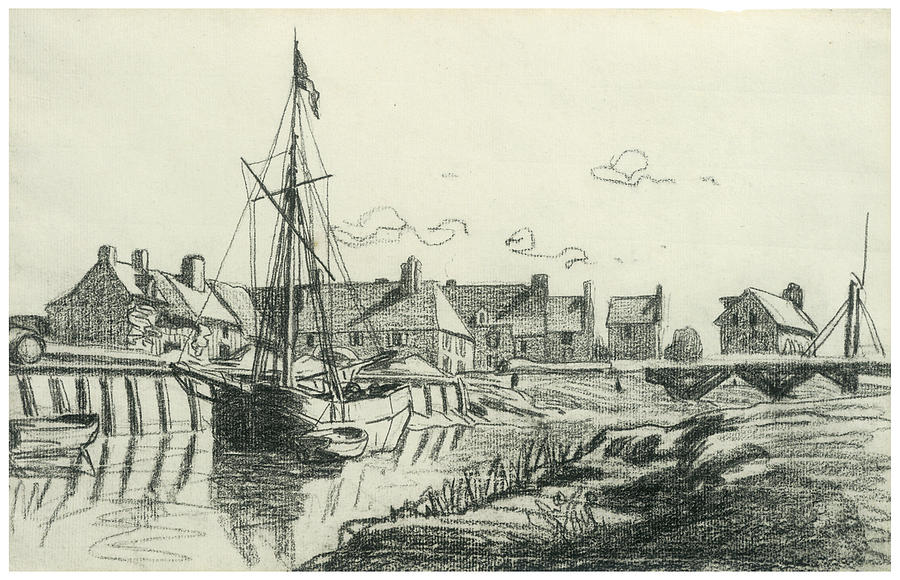 Port Drawing - The Port At Touques by Claude Monet