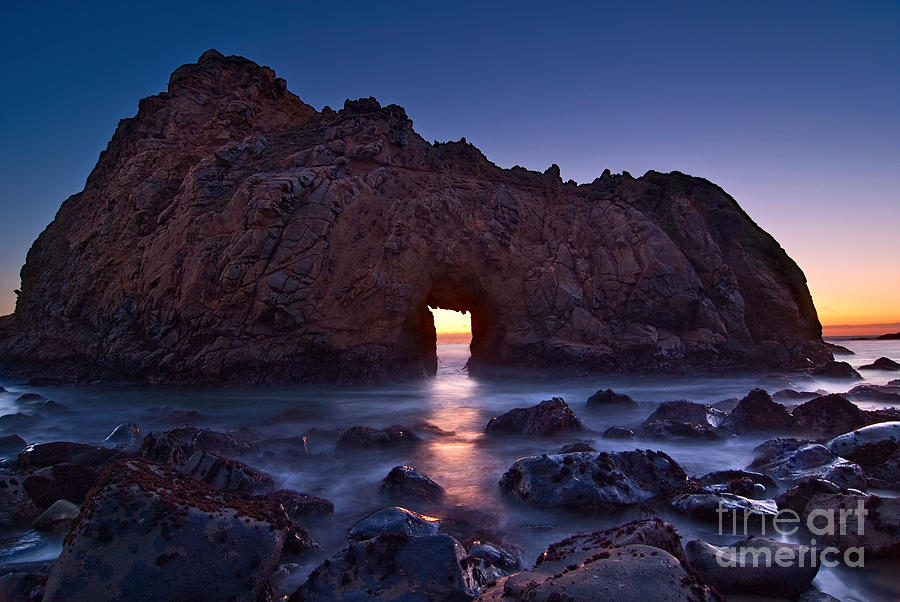 Arch Rock Photograph - The Portal - Sunset On Arch Rock In Pfeiffer Beach Big Sur In California. by Jamie Pham