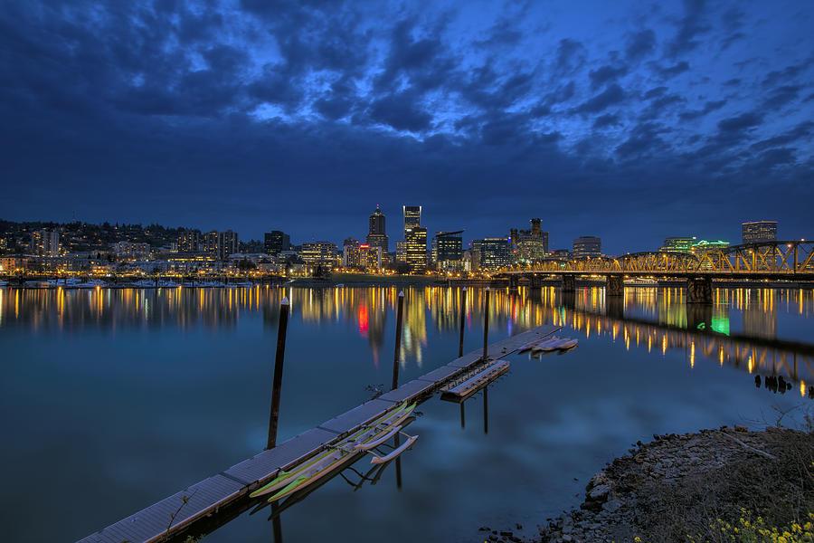Portland Photograph - The Portland Oregon Waterfront Blue Hour by David Gn