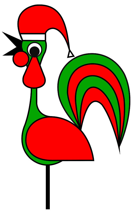 The Portoguise Rooster son of Santa Claus wishes you a Happy Chrismas Digital Art by Asbjorn Lonvig