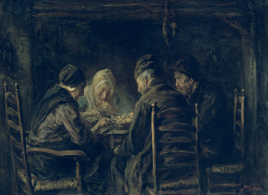 Dinner Painting - The Potato Eaters, 1902 by Jozef Israels