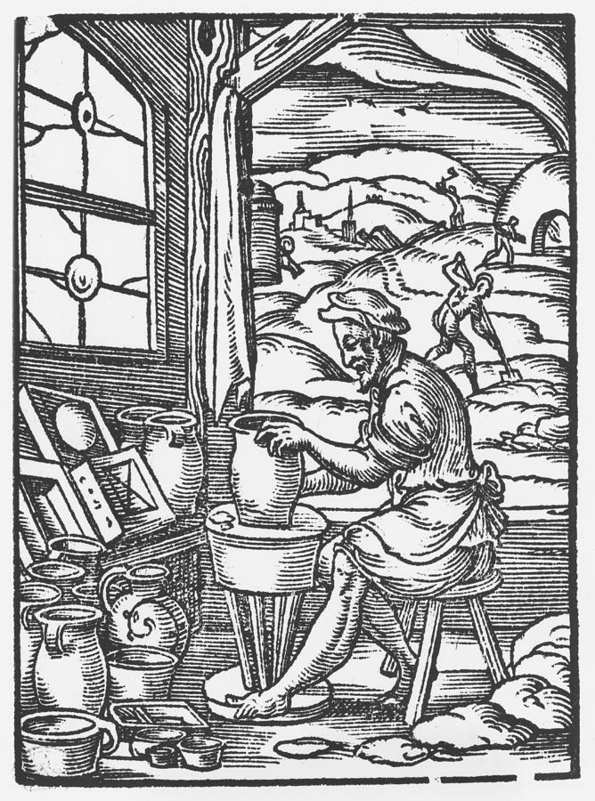 Male Drawing - The Potter, 1574 by Jost Amman