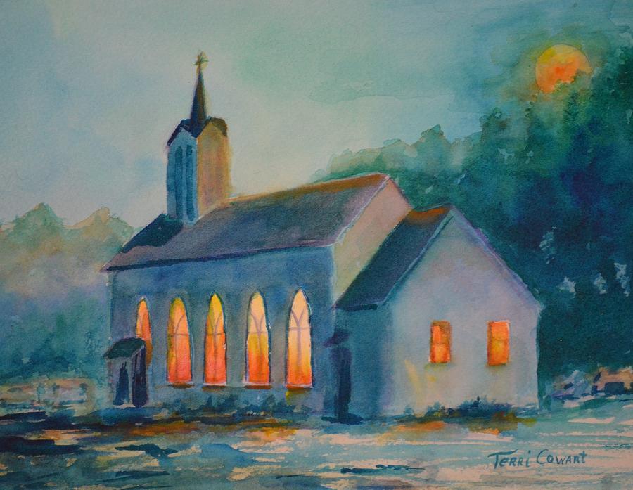Church Painting - The Prayer Meeting by Terri Cowart