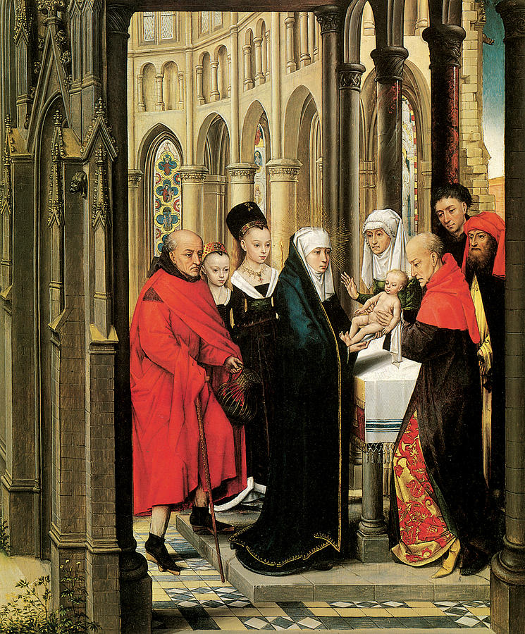 Hans Memling Painting - The Presentation In The Temple by Hans Memling