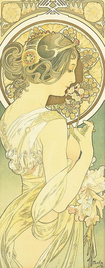 Mucha Painting - The Primrose by Alphonse Marie Mucha