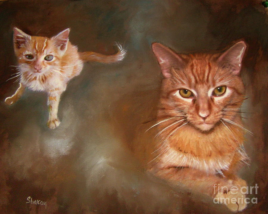 Cat Painting - The Prince And The Pauper by Sharon Burger