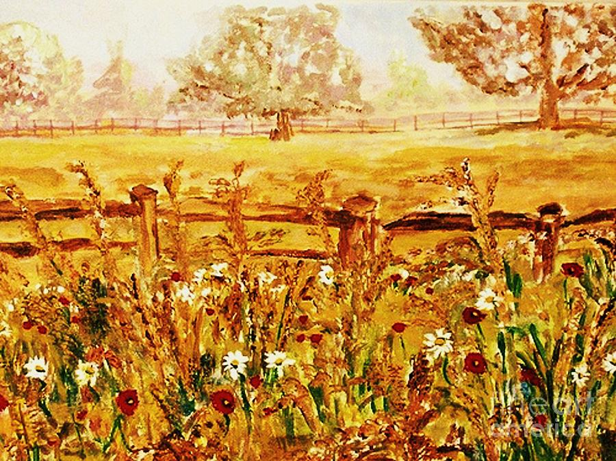 Landscapes Painting - The Prince Of Wales Wild Flower Fields by Helena Bebirian