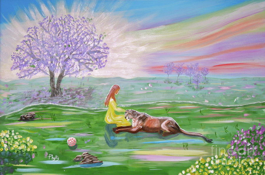 Lion Painting - The Princess And Her Lion by Phyllis Kaltenbach