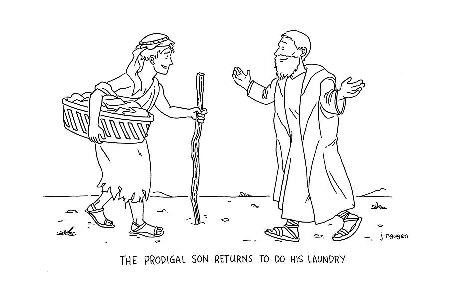 The Prodigal Son Returns To Do His Laundry Drawing by Jeremy Nguyen