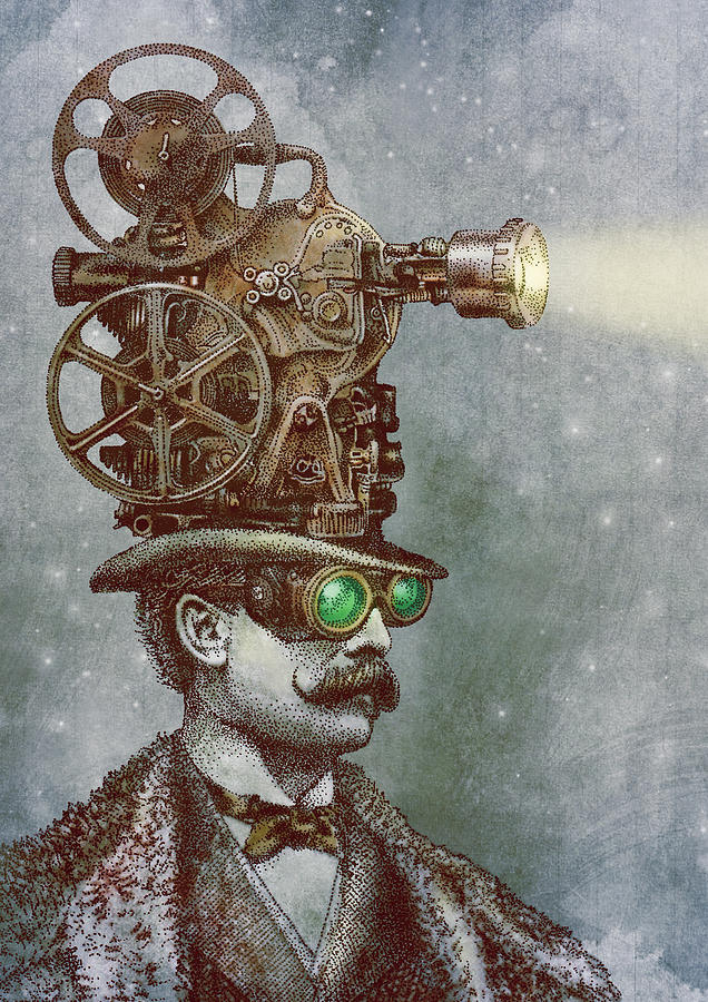 Projector Drawing - The Projectionist by Eric Fan