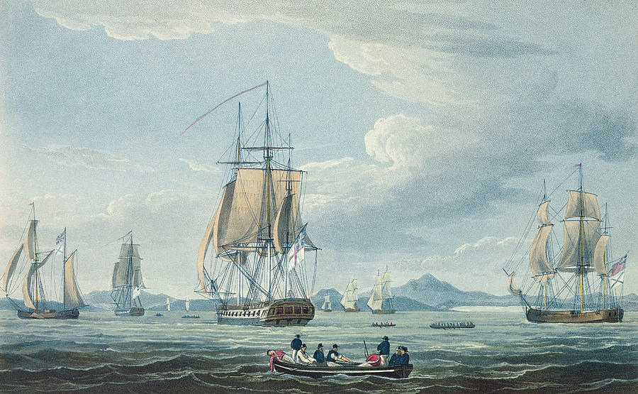 Boat Painting - The Prometheus And The Melpomene In The Gulf Of Riga by Thomas Whitcombe