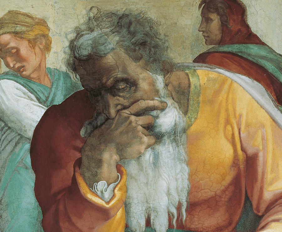 Old Painting - The Prophet Jeremiah by Michelangelo