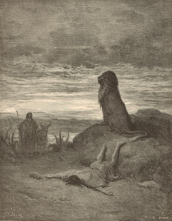 Biblical Painting - The Prophet Slain By A Lion by Antique Engravings
