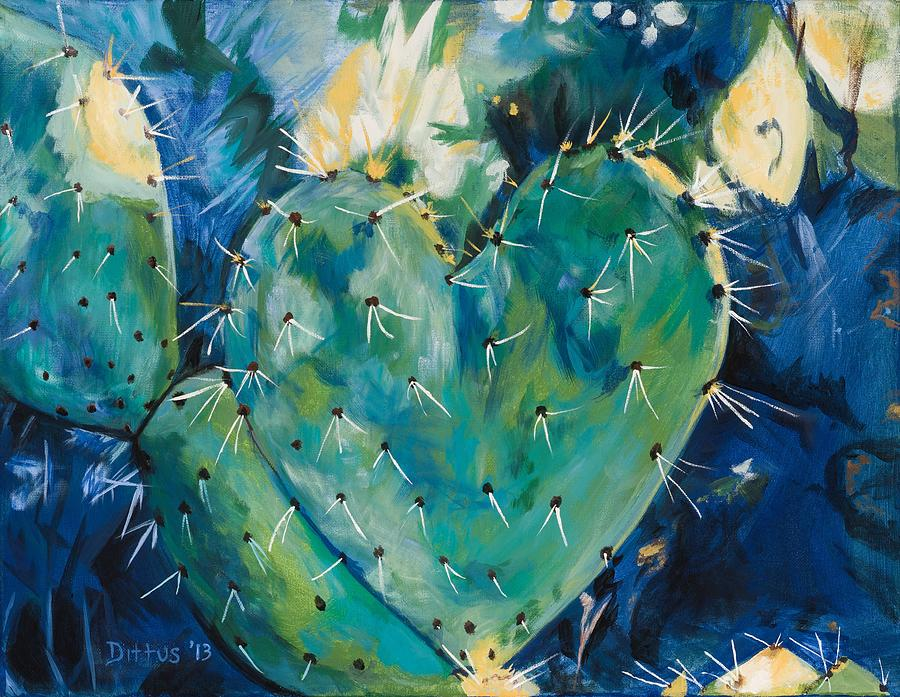 Cactus Painting - The Protected Heart by Chrissey Dittus