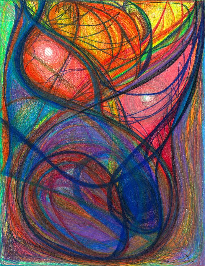 Abstract Drawing - The Pulse Of The Heart Lies Strong by Daina White