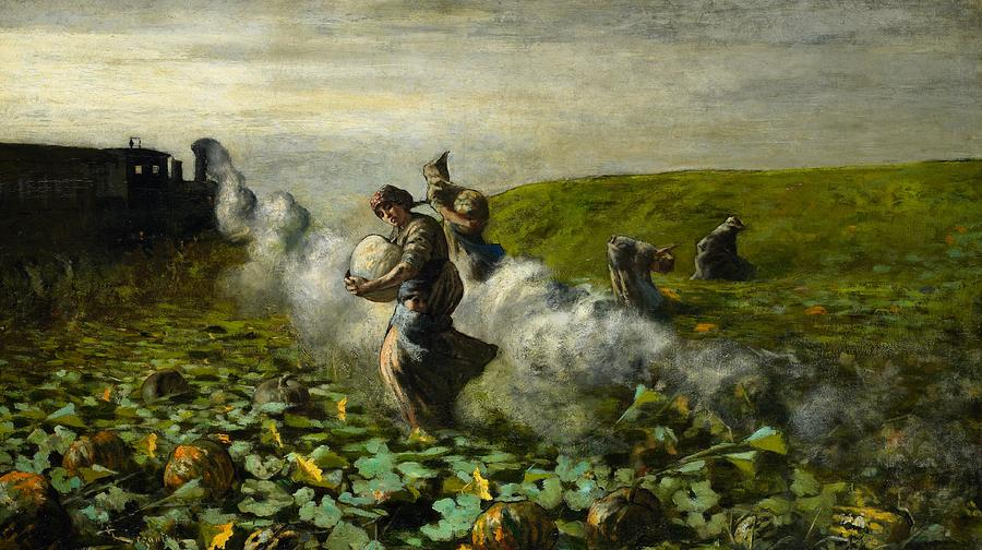 Pumpkin Painting - The Pumpkin Harvest by Giovanni Segantini