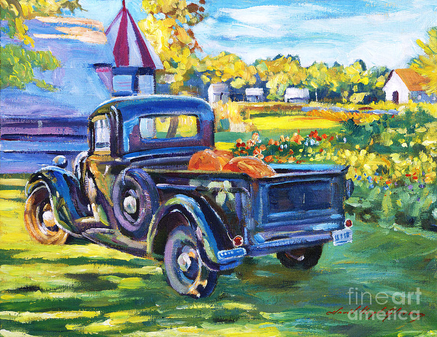 Landscape Painting - The Pumpkin Pickup by David Lloyd Glover