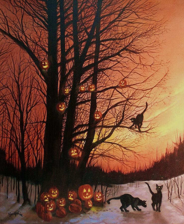 Black Cats Painting - The Pumpkin Tree by Tom Shropshire