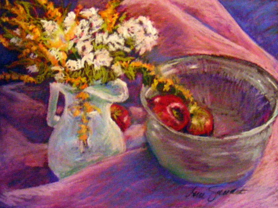 Still Life Pastel - The Purple Bowl by Lenore Gaudet