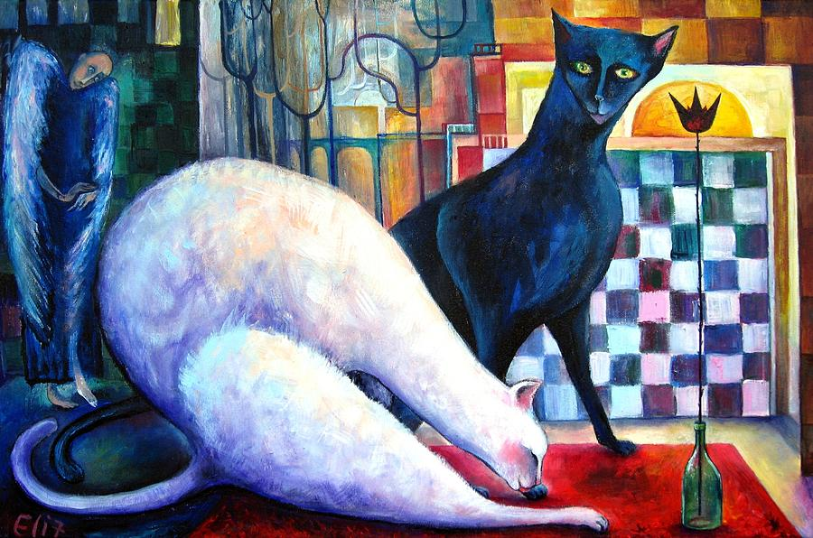 Cat Painting - The Queen And The Knight. Chess Of Love  by Elisheva Nesis