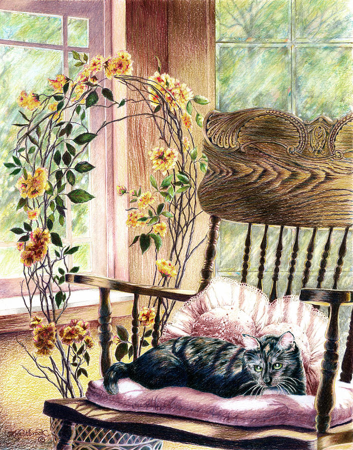 Cat Drawing - the QUEEN is on her throne by Jill Westbrook