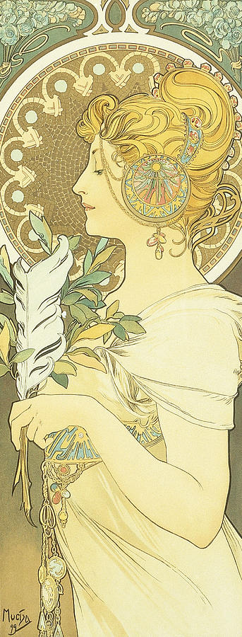 Mucha Painting - The Quill by Alphonse Marie Mucha