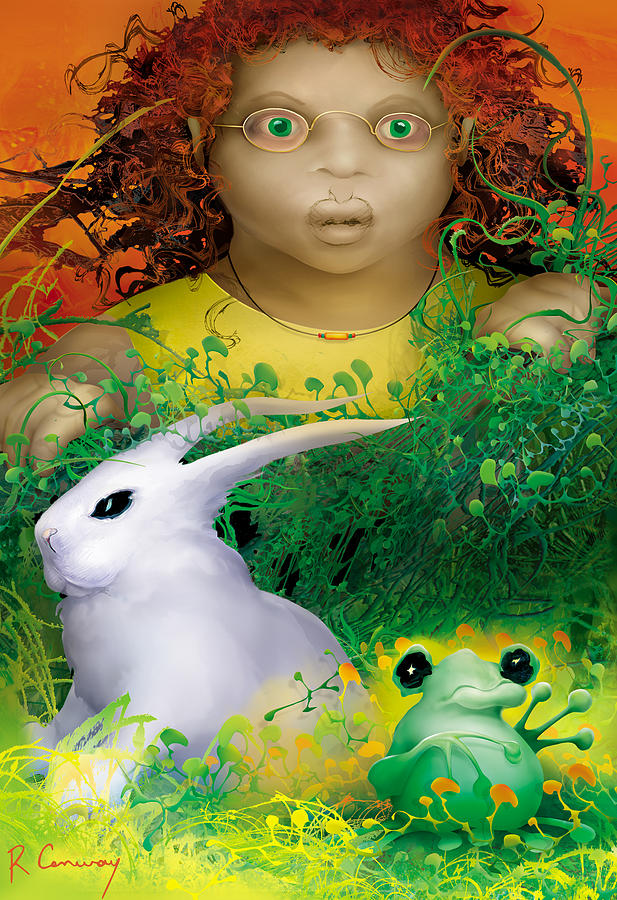 Orange Digital Art - The Rabbit And The Frog by Robert Conway