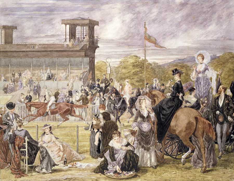 Race Course Painting - The Races At Longchamp In 1874 by Pierre Gavarni