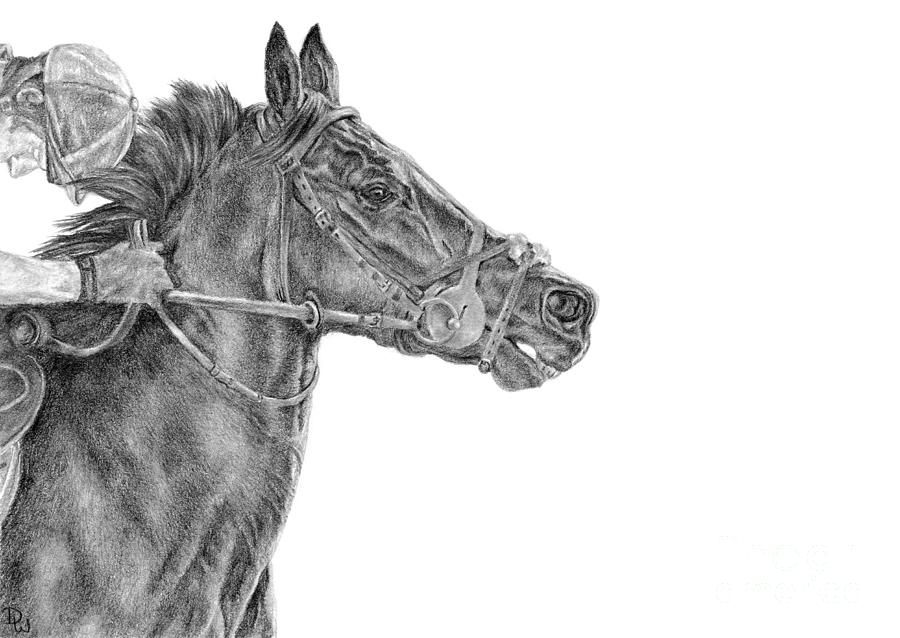 Racehorse Drawing - The Racing Game by Pencil Paws