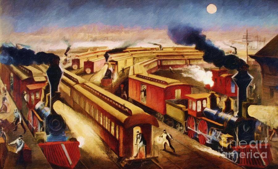 The Railroad Junction - Circa 1880 Digital Art