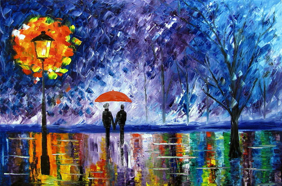 Walking In The Rain Painting - The Rain by Mariana Stauffer