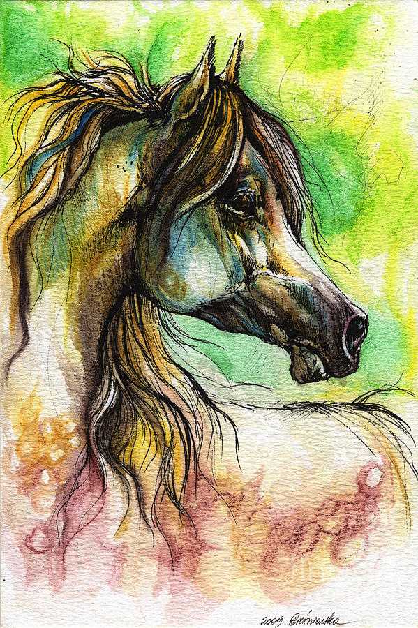 The Rainbow Colored Arabian Horse Painting
