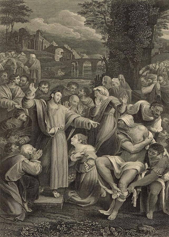 Lazarus Painting - The Raising Of Lazarus 1886 Engraving by Antique Engravings