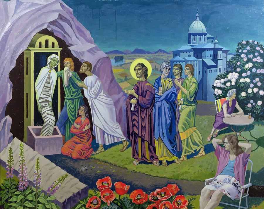 Temple Painting - The Raising Of Lazarus, 1987 by Osmund Caine