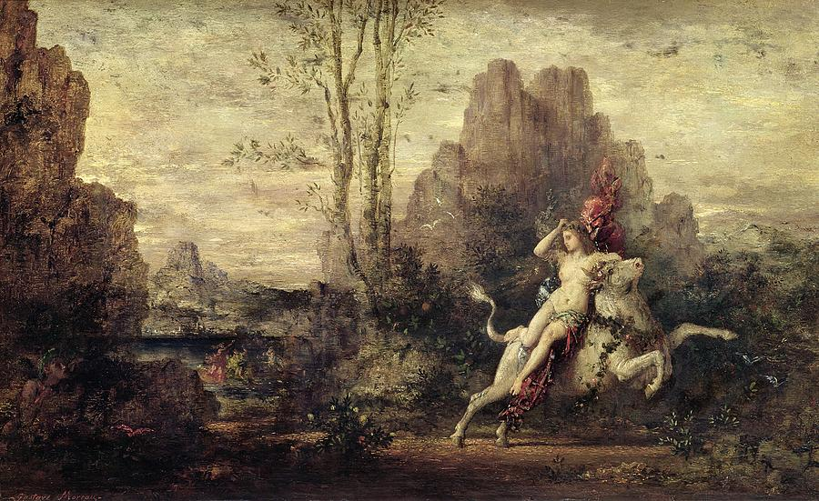 Metamorphosis; Zeus; Landscape; Symbolist; Female; Nude; Abduction; Abducted; Enlevement; Europe Painting - The Rape Of Europa by Gustave Moreau
