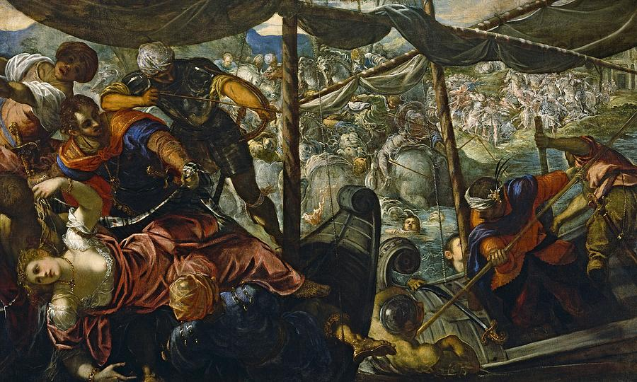 Cinquecento Painting - The Rape Of Helen by Tintoretto