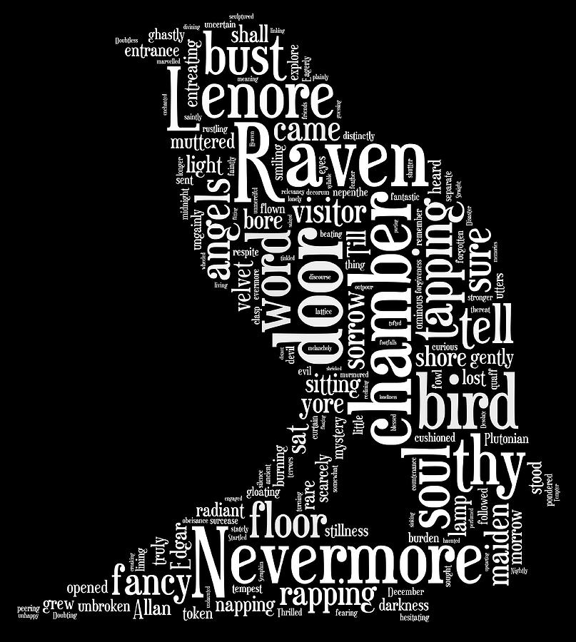 The Raven By Edgar Allan Poe Word Cloud Digital Art by Philip Ralley