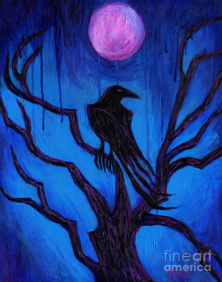 Expressionism Painting - The Raven Nevermore by Roz Abellera Art
