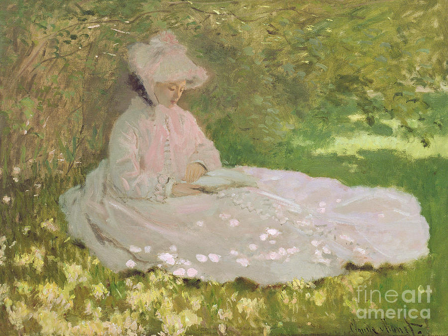 Dress Painting - The Reader  by Claude Monet