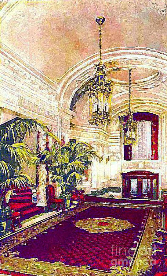 Hotels Painting - The Rector Hotel Lobby Staircase In 1910 by Dwight Goss