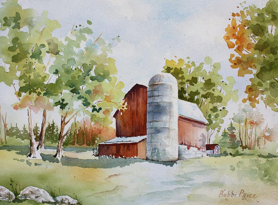 Landscape Painting - The Red Barn by Bobbi Price