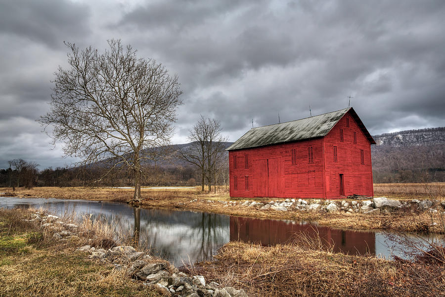 The Red Barn By Stream Photograph by Julie Thurston