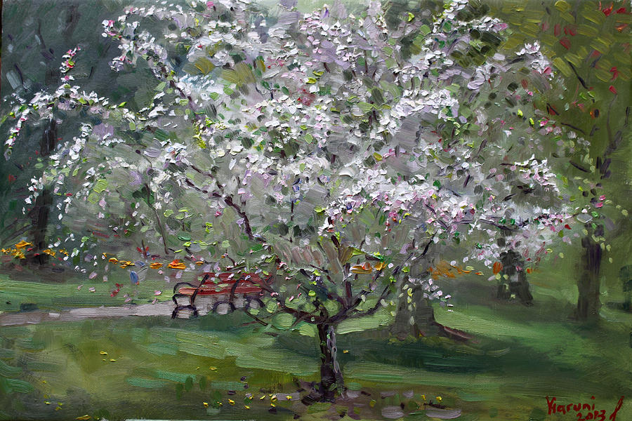 Spring Painting - The Red Bench by Ylli Haruni